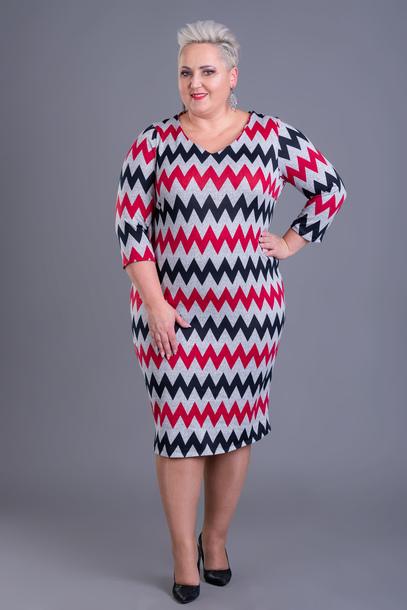 Sukienka dzianinowa wzorek czerwony
