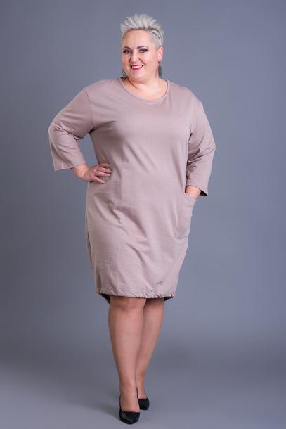 Sukienka dresowa dół wiązany beżowa