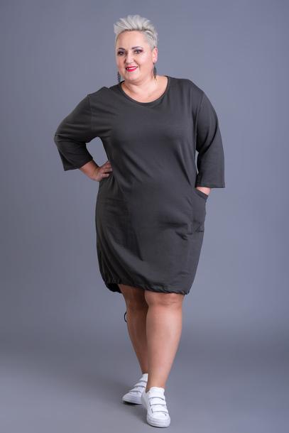 Sukienka dresowa dół wiązany khaki