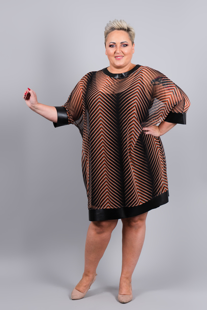 Tuniko-sukienka dwuwarstwowa paski