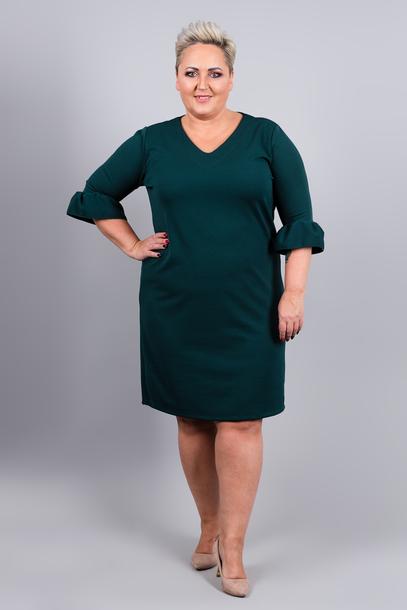 Sukienka rękaw falbanka zielona