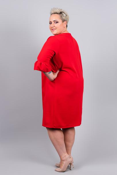 Sukienka rękaw falbanka czerwona