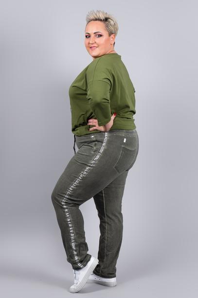 Spodnie dresowe z lampasem khaki