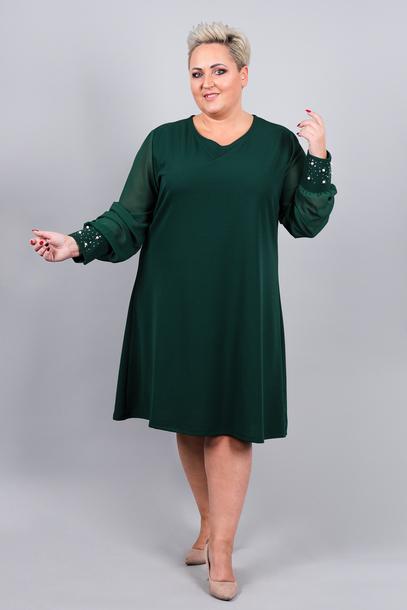 Sukienka trapezowa rękawki perełki zielona