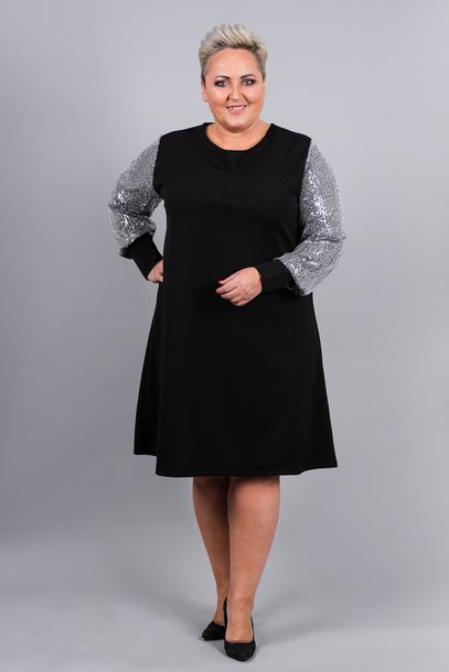 Trapezowa sukienka cekinowe rękawy srebrne