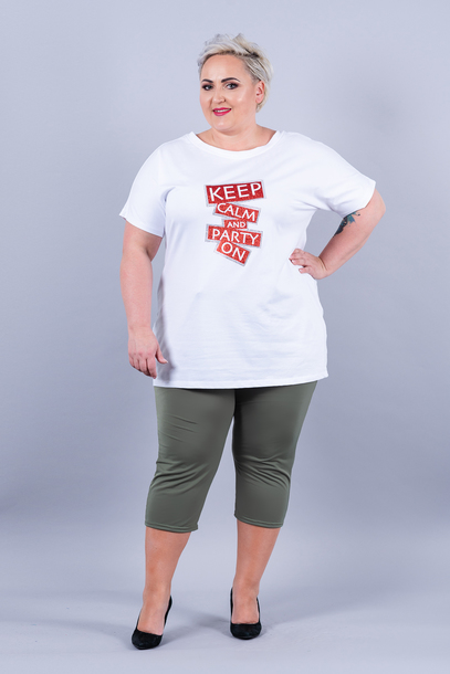 T-shirt Keep Calm biały