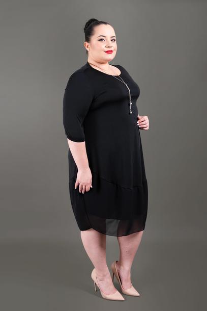 Sukienka z szyfonem czarna