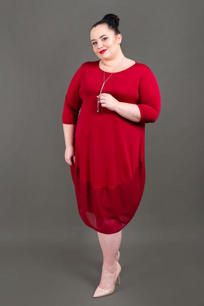 Sukienka z szyfonem czerwona