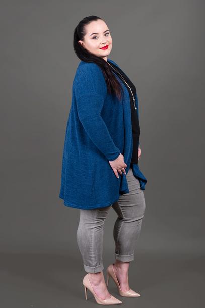 Narzutka sweterkowa niebieska