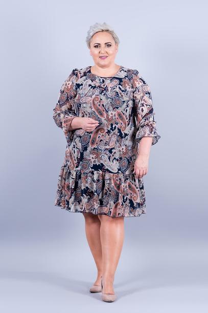 LILI sukienka szyfonowa granatowa