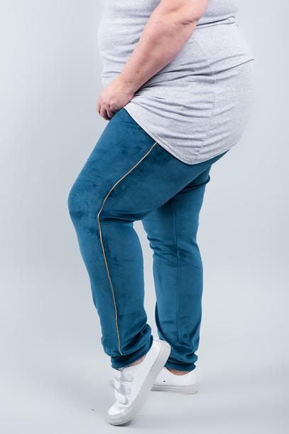 VELGOLD spodnie welurowe niebieskie
