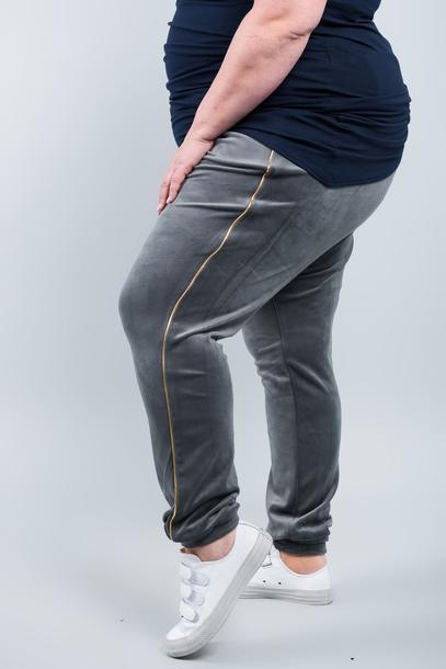 VELGOLD spodnie welurowe szare