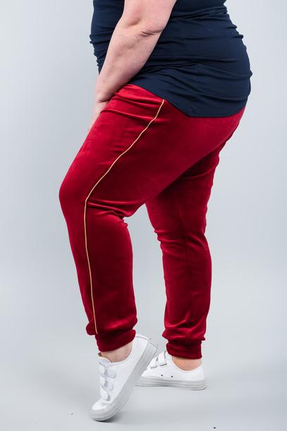 VELGOLD spodnie welurowe czerwone
