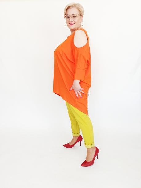 Tunika wycięte rękawy pomarańczowa