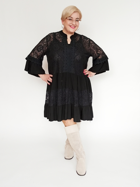 Tuniko-sukienka koronkowa czarna