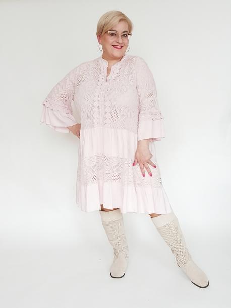 Tuniko-sukienka koronkowa pudrowy róż