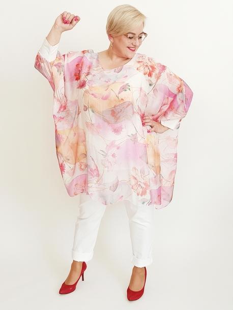 Tunika jedwabna print różowy