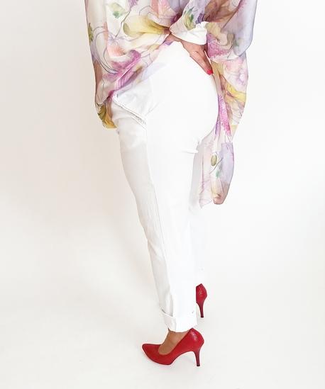 Spodnie kieszeń lamówka białe