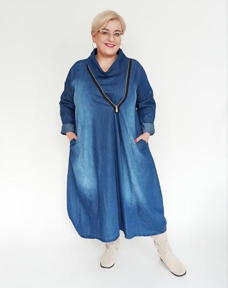 Sukienka jeansowa z suwakiem