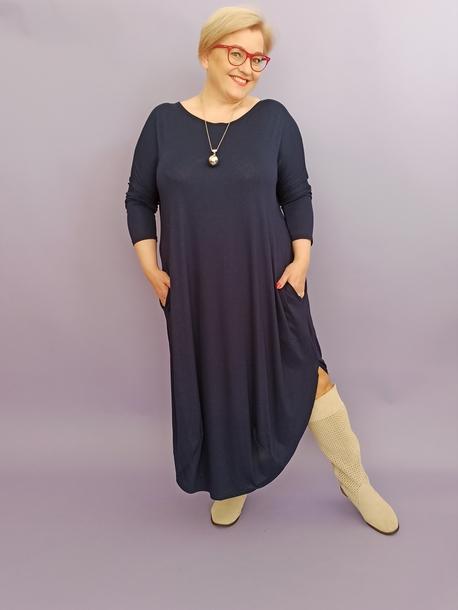 Sukienka jajko długie wiskoza granatowa (1)