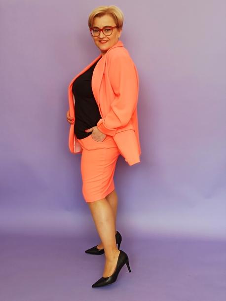 żakiet klasyczny pomarańczowy neon