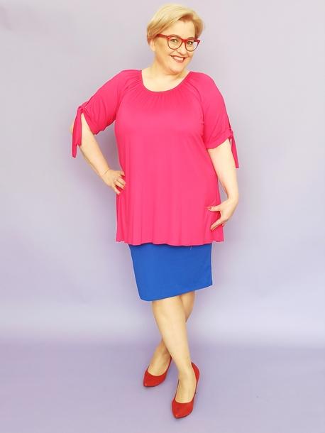 bluzka hiszpanka różowa z wisiorem