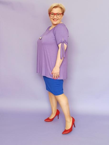 bluzka hiszpanka fioletowa z wisiorem