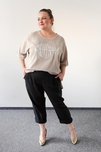 Spodnie LEN/BAWEŁNA czarne