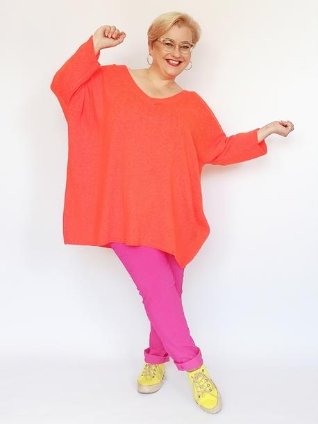 Sweter dekolt w serek neon pomarańczowy
