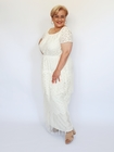 Sukienka długa ecru frędzelki (1)
