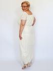 Sukienka długa ecru frędzelki (2)