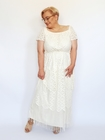 Sukienka długa ecru frędzelki (3)