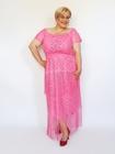 Sukienka długa różowa frędzelki