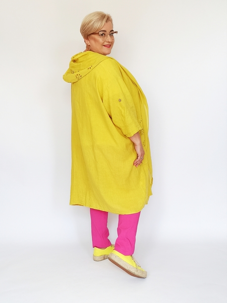 Narzutka lniano-bawełniana żółta