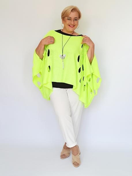 Ponczo sweterkowe w dziury neon żółty