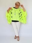 Ponczo sweterkowe w dziury neon żółty (2)