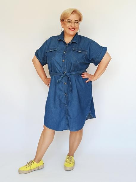 Sukienko-tunika jeansowa z paskiem