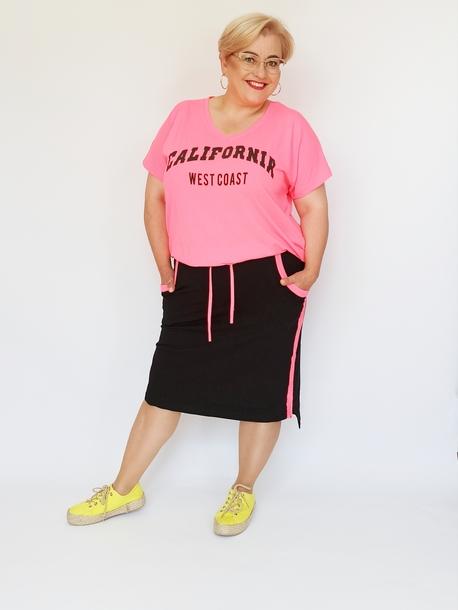 Komplet spódniczka i bluzka czarno-różowy neon