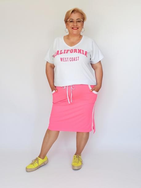Komplet spódniczka i bluzka biało-różowa neon