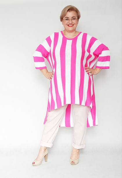 Sweter długi paski różowe neon
