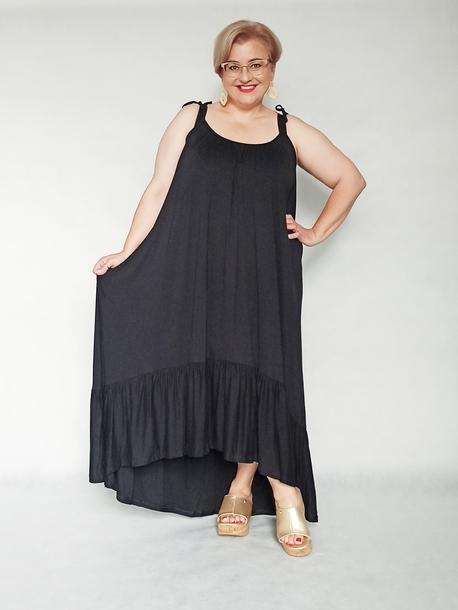 Sukienka Boho wiązane ramiączka czarna