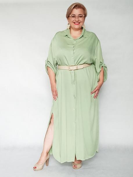 Sukienka koszulowa pistacjowa (1)