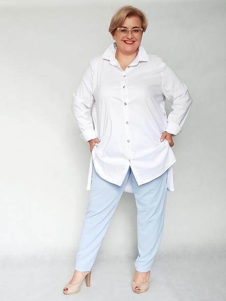 Koszula długa z rozcięciem biała