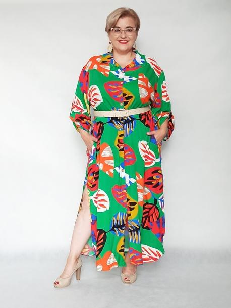 Sukienka koszulowa print zielona