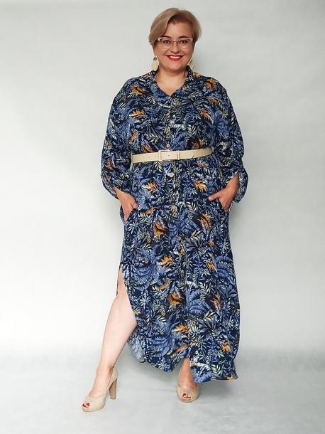 Sukienka koszulowa print liście