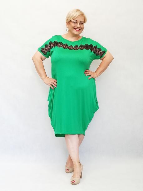Sukienka pasek koronkowy zielona