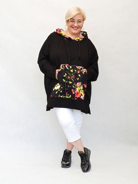 Bluza sportowa kwiaty czarna (1)