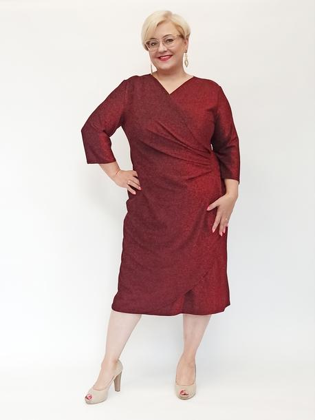 Sukienka brokatowa czerwona