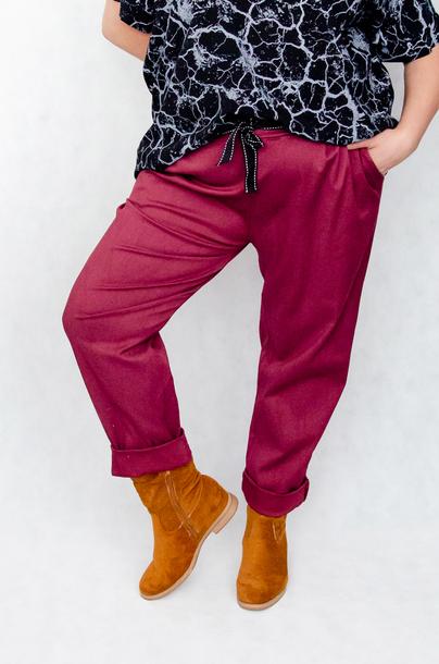 Spodnie bawełniane bordowe