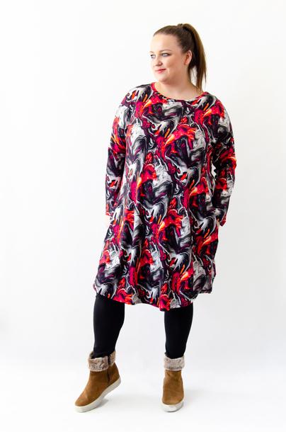 Sukienka JAJKO czerwona abstrakcja